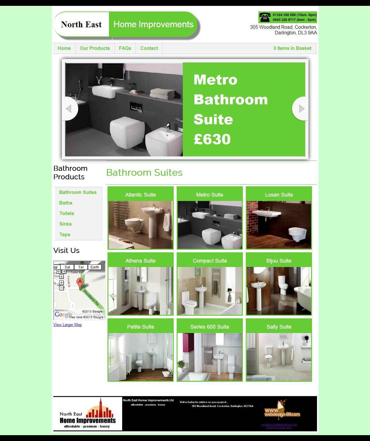 DIY Bathrooms web site built by Darlington Design