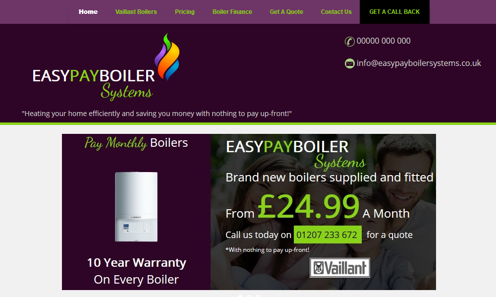 Easy Pay Boiler Systems a bespoke website built by Darlington Design