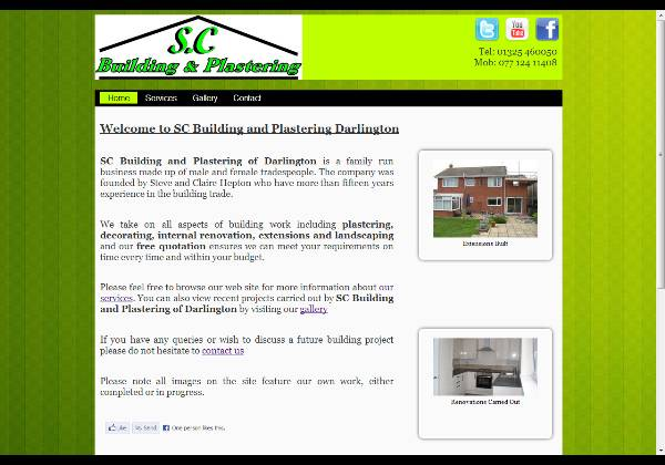 SC Builders Darlington web site, design and built by Darlington Designs.