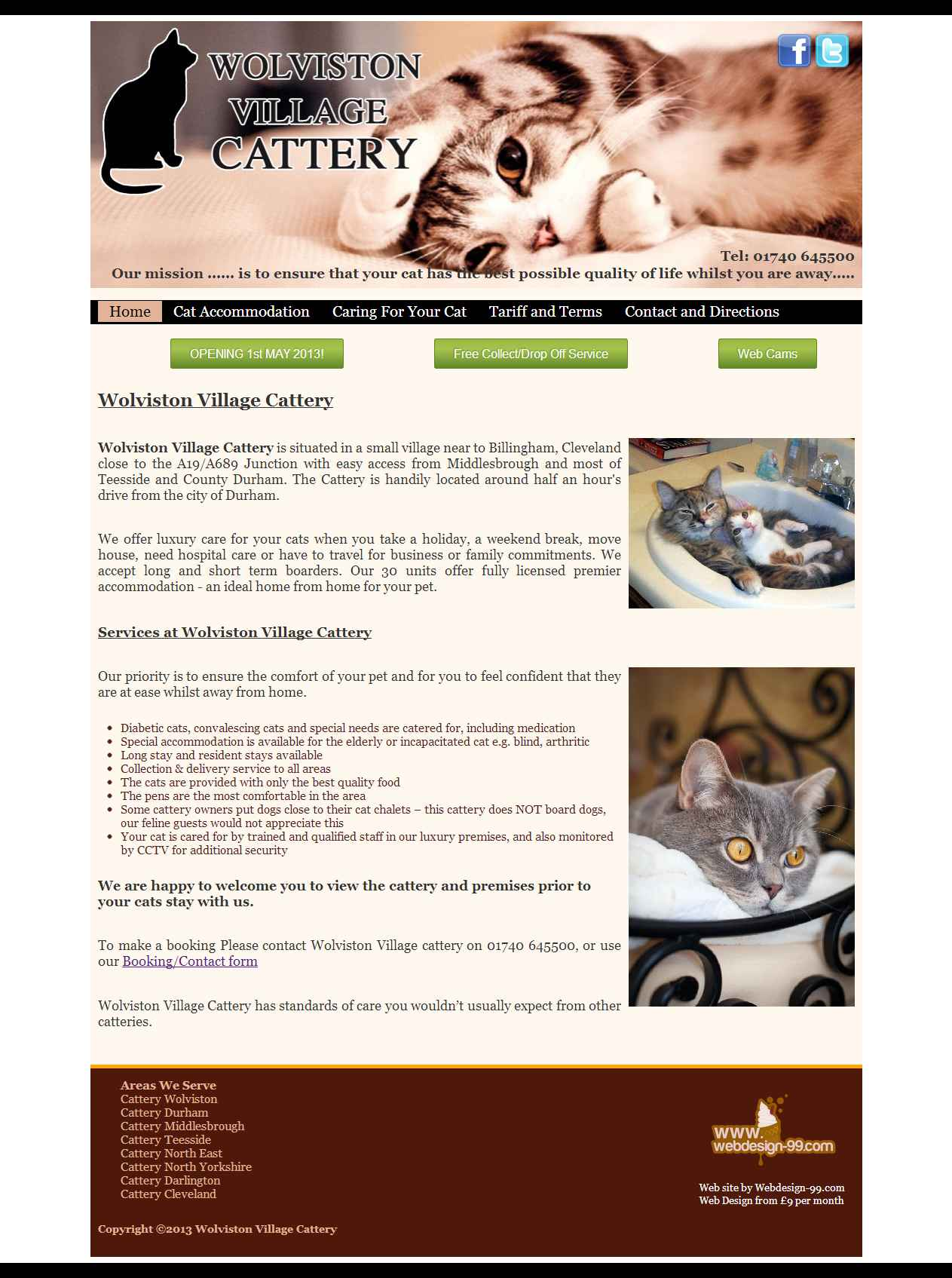 Wolviston Village Cattery web site built by Darlington Design